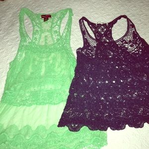 2 lace tanks (both for this Price) blue,mint green